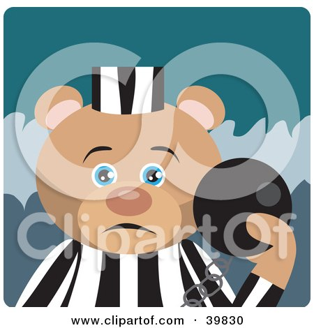 Blue Eyed Prisoner Teddy Bear Attached To A Ball And Chain Posters, Art Prints