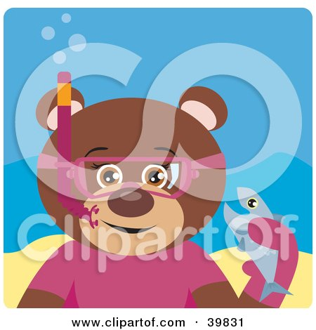 Clipart Illustration of a Brown Female Teddy Bear Wearing Pink Snorkel Gear, Holding A Fish Underwater by Dennis Holmes Designs