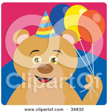 Clipart Illustration of a Brown Male Birthday Bear Holding Party Balloons by Dennis Holmes Designs