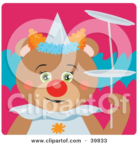Clipart Illustration of a Green Eyed Female Circus Clown Teddy Bear Doing A Balancing Stunt by Dennis Holmes Designs