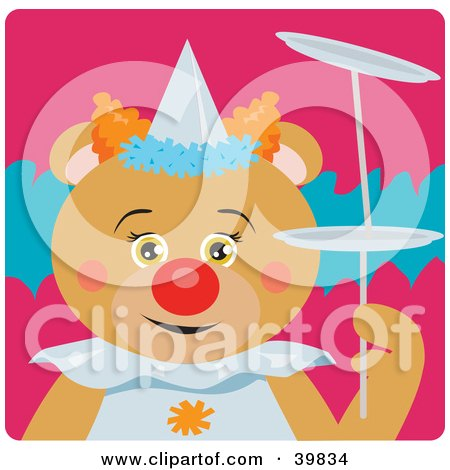 Clipart Illustration of a Brown Female Circus Clown Bear Doing A Balancing Stunt by Dennis Holmes Designs