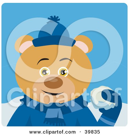 Clipart Illustration of a Brown Bear In Blue, Throwing Snowballs by Dennis Holmes Designs