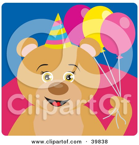 Clipart Illustration of a Brown Female Birthday Bear Holding Party Balloons by Dennis Holmes Designs