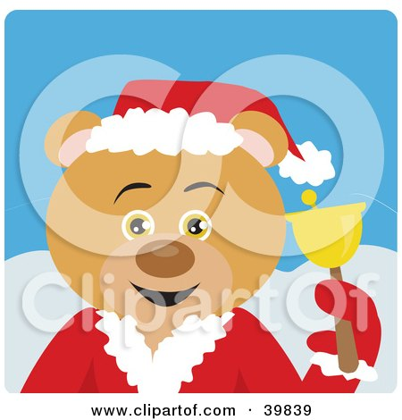 Clipart Illustration of a Blue Eyed Charity Bell Ringer Bear In A Santa Suit by Dennis Holmes Designs
