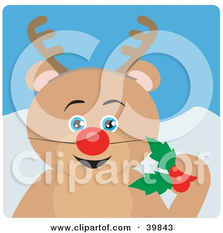 Clipart Illustration of a Blue Eyed Teddy Bear Disguised As Rudolph by Dennis Holmes Designs