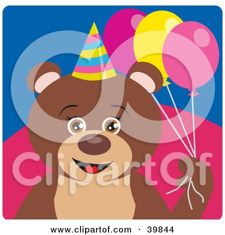 Clipart Illustration of a Brown Female Birthday Teddy Bear Holding Party Balloons by Dennis Holmes Designs