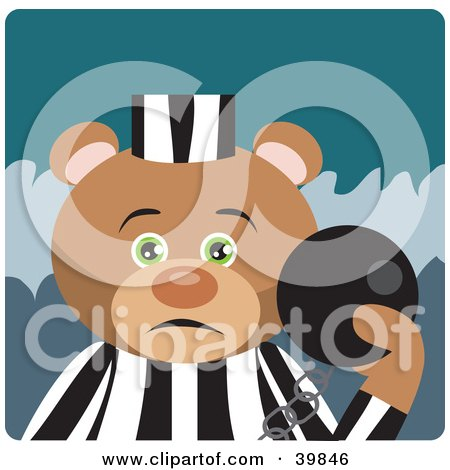 Green Eyed Prisoner Teddy Bear Attached To A Ball And Chain Posters, Art Prints