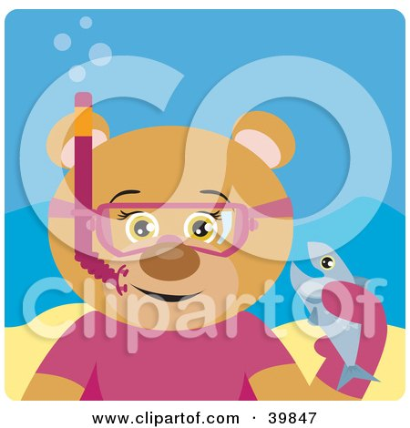 Clipart Illustration of a Brown Female Bear Wearing Pink Snorkel Gear, Holding A Fish Underwater by Dennis Holmes Designs