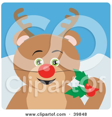 Clipart Illustration of a Green Eyed Teddy Bear Disguised As Rudolph by Dennis Holmes Designs