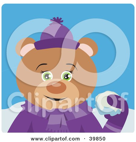 Clipart Illustration of a Green Eyed Female Teddy Bear In Purple, Throwing Snowballs by Dennis Holmes Designs
