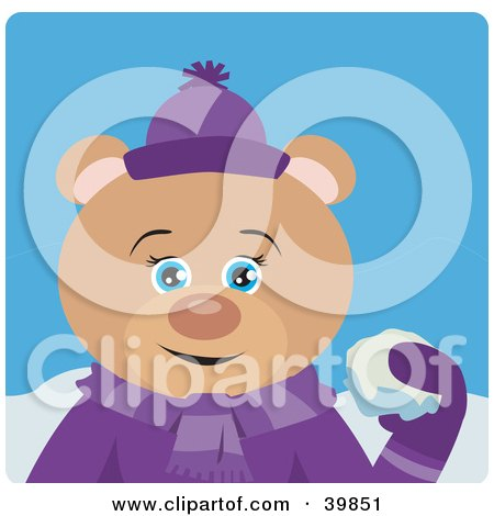 Clipart Illustration of a Blue Eyed Female Teddy Bear In Purple, Throwing Snowballs by Dennis Holmes Designs