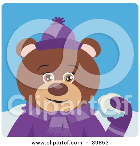 Clipart Illustration of a Brown Female Teddy Bear In Purple, Throwing Snowballs by Dennis Holmes Designs