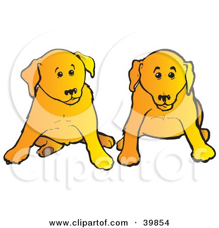 Clipart Illustration of Two Yellow Lab Puppies Sitting During Obedience Training by Snowy