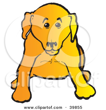 Clipart Illustration of a Cute Yellow Lab Puppy Dog Sitting And Facing Front by Snowy