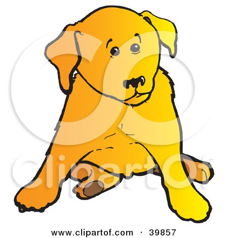 Clipart Illustration of a Cute Yellow Lab Puppy Dog Sitting And Looking To The Side by Snowy