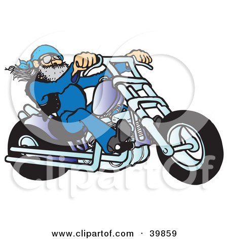 Clipart Illustration of a Cool Biker Dude Riding A Chopper Motorcycle by Snowy