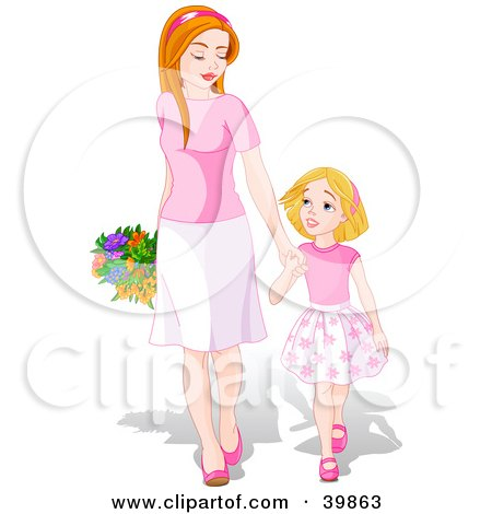 Clipart Illustration of a Happy Young Daughter Holding Hands And Walking With Her Mom On Mother's Day by Pushkin