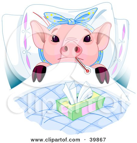 Clipart Illustration of an Adorable Pink Piglet Laying In Bed With A Thermometer And Tissues, Sick With The Flu by Pushkin