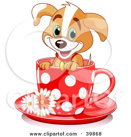 Adorable Puppy Dog In A Red Polka Dotted Tea Cup Posters, Art Prints