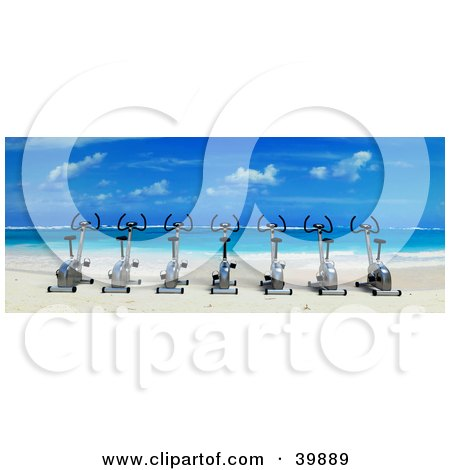 Clipart Illustration of a Row Of 3d Stationery Cycles On A Tropical Beach, Looking Out Towards Blue Skies And Clear Water by Frank Boston