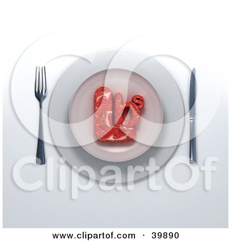 Clipart Illustration of a 3d Place Setting Of Red Meat Beef In The Shape Of Lbs Served On A Plate by Frank Boston