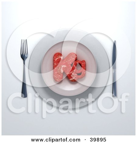 Clipart Illustration of a 3d Place Setting Of Red Meat Beef In The Shape Of Kg Served On A Plate by Frank Boston