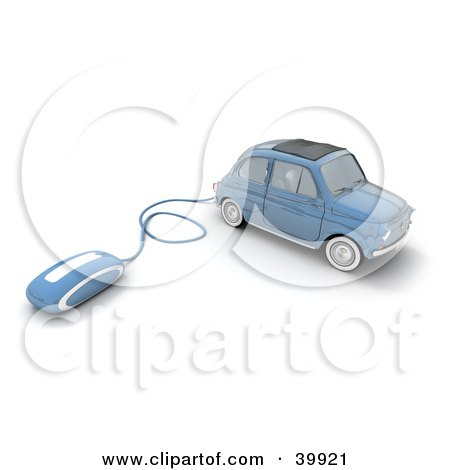 Clipart Illustration of a Computer Mouse Attached To A Blue Compact Car by Frank Boston