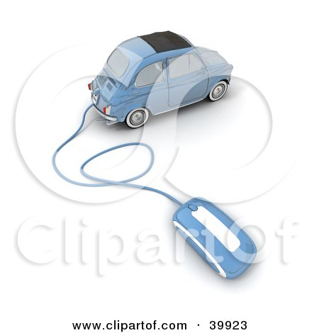 Clipart Illustration of a Blue Compact Car With A Computer Mouse Attached by Frank Boston