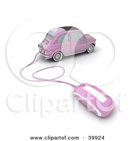 Clipart Illustration of a Computer Mouse Attached To A Pink Compact Car by Frank Boston