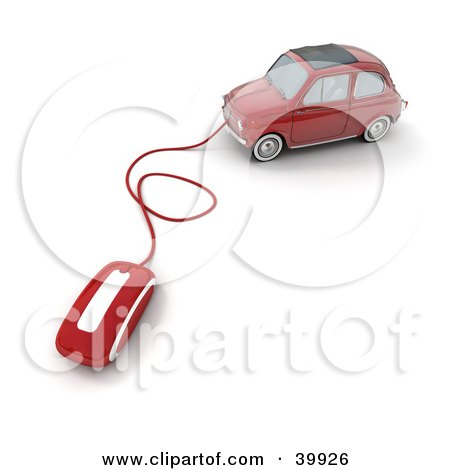 Clipart Illustration of a Red Compact Car With A Computer Mouse Attached by Frank Boston