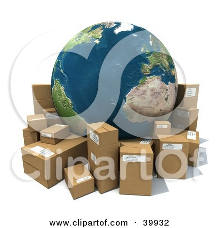 Clipart Illustration of Earth Surrounded By Cardboard Parcels by Frank Boston