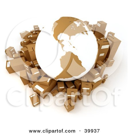 Clipart Illustration of a White And Brown Globe Surrounded By Cardboard Parcels by Frank Boston