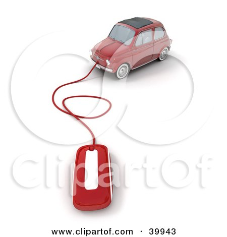 Clipart Illustration of a Computer Mouse Attached To A Red Compact Car by Frank Boston