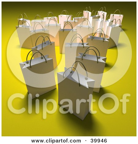 Clipart Illustration of Scattered White 3d Shopping Bags On A Yellow Background With Shading by Frank Boston