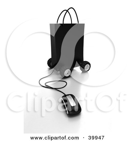 Clipart Illustration of a Computer Mouse Connected To A Black Gift Bag On Wheels by Frank Boston