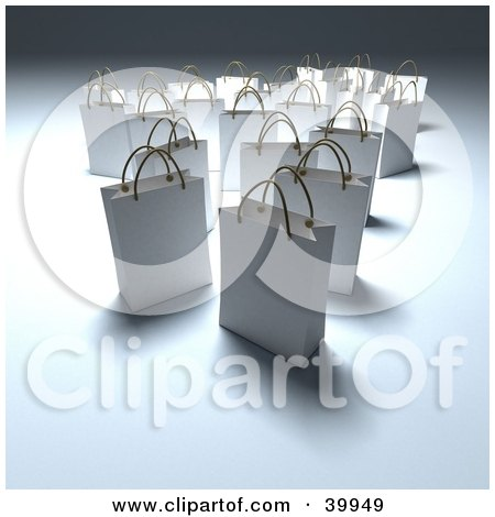 Clipart Illustration of Scattered White 3d Shopping Bags On A Shady Background by Frank Boston