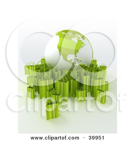 Clipart Illustration of a Green And White Globe Surrounded By Green 3d Shopping Bags by Frank Boston