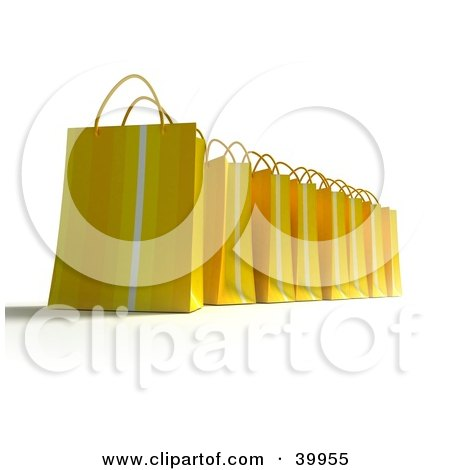 Clipart Illustration of a Row Of Yellow 3d Shopping Bags by Frank Boston