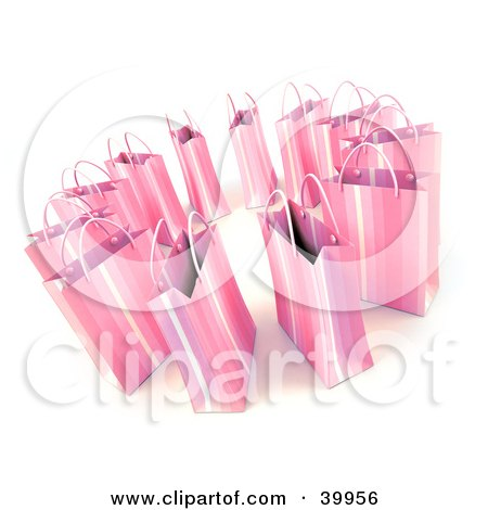 Clipart Illustration of a Circle Of 3d Pink Shopping Bags by Frank Boston
