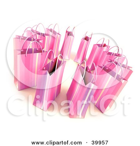 Clipart Illustration of a Circle Of 3d Pink Gift Bags by Frank Boston