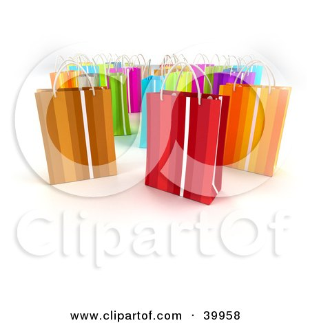 Clipart Illustration of Scattered 3d Colorful Gift Bags On A Background With Shading by Frank Boston