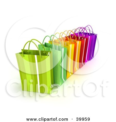 Clipart Illustration of a Line Of Colorful 3d Shopping Bags by Frank Boston