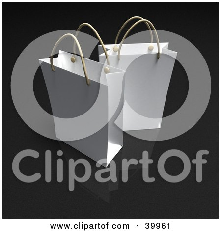 Clipart Illustration of Two White 3d Gift Bags On A Black Background by Frank Boston