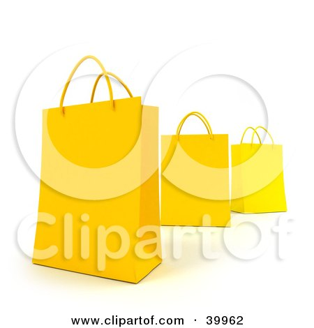 Clipart Illustration of Three 3d Yellow Gift Bags by Frank Boston