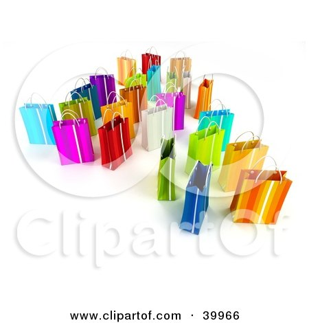 Clipart Illustration of Scattered 3d Colorful Shopping Bags On A Background With Shading by Frank Boston