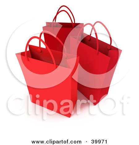 Clipart Illustration of Three Red 3d Shopping Bags by Frank Boston