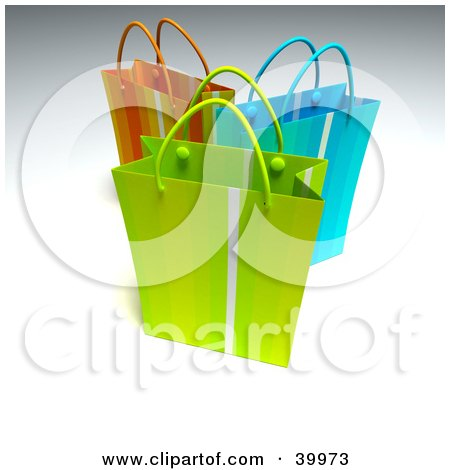 Clipart Illustration of Three Green, Blue And Red 3d Shopping Bags by Frank Boston