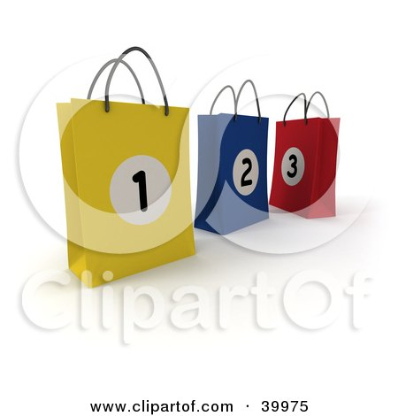 Clipart Illustration of Three Numbered Yellow, Blue And Red 3d Shopping Bags by Frank Boston