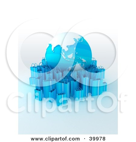 Clipart Illustration of a Globe Surrounded By Light Blue 3d Shopping Bags by Frank Boston