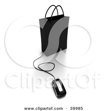 Clipart Illustration of a Computer Mouse Connected To A Black Shopping Bag by Frank Boston
